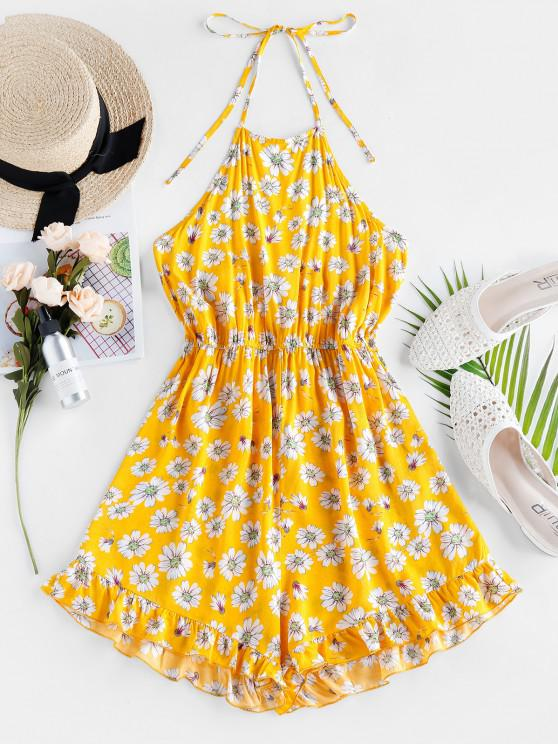 lady ZAFUL Floral Ruffle Halter Romper - YELLOW S