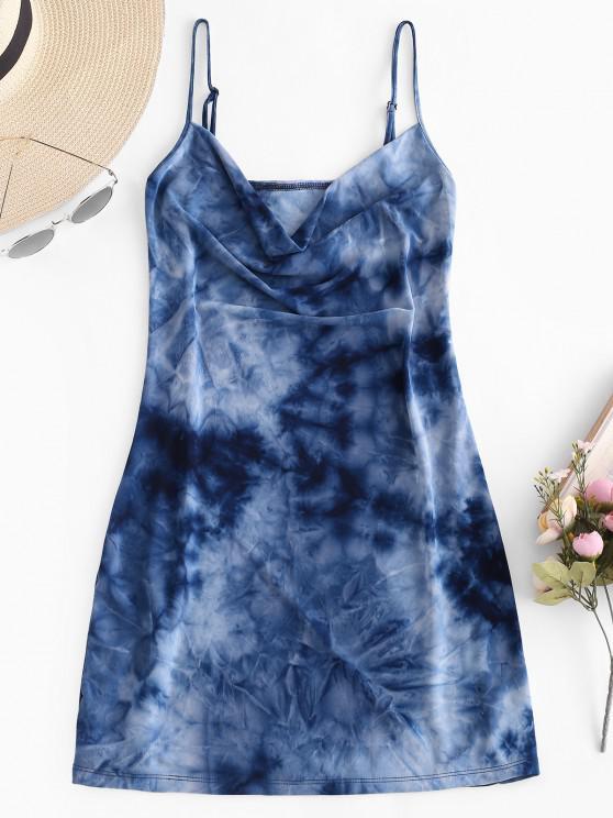 best Tie Dye Cowl Front Cami Dress - MULTI S
