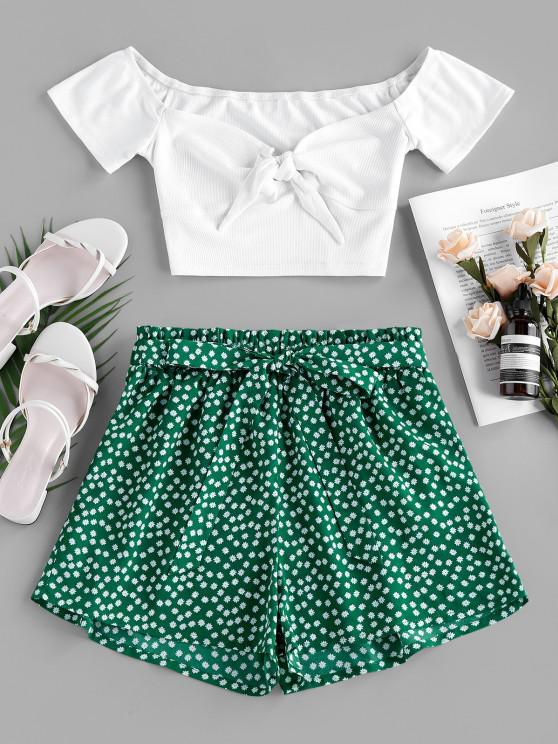 chic ZAFUL Ribbed Printed Two Piece Set - GREEN XL