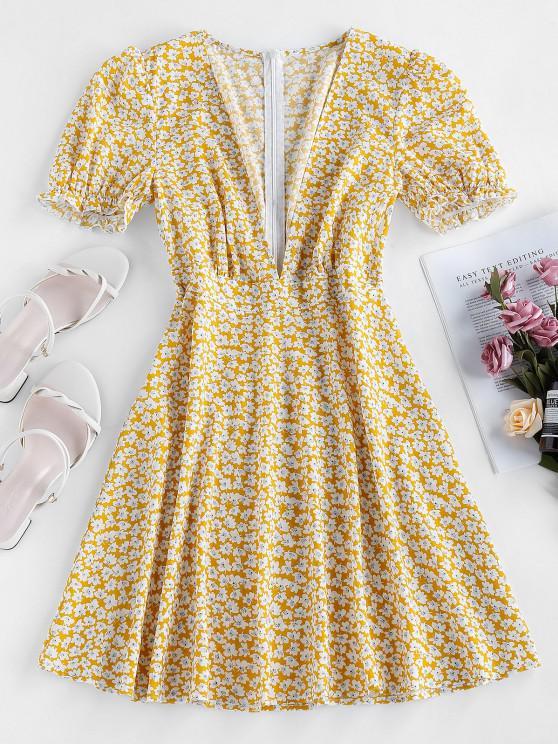 ZAFUL Plunge Tiny Floral Puff Sleeve Dress - أصفر فاقع S