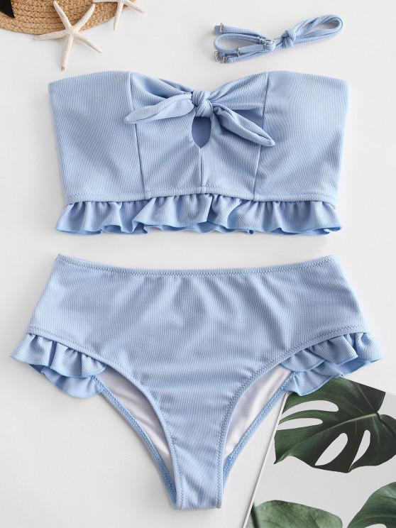 ZAFUL Ruffles Knotted Solid Tankini Swimsuit - جينز ازرق L