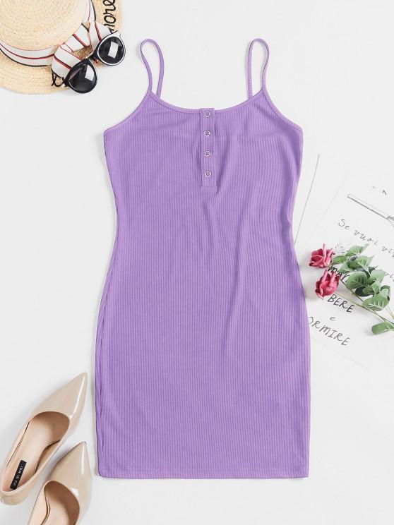 hot ZAFUL Solid Color Bodycon Cami Dress - MAUVE L