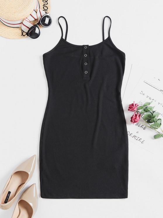 ladies ZAFUL Solid Color Bodycon Cami Dress - BLACK M