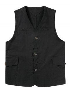Button Up Mock Pockets Casual Fisher Vest - Black S