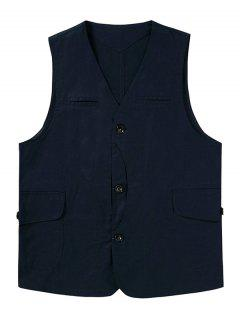 Button Up Mock Pockets Casual Fisher Vest - Cadetblue 2xl