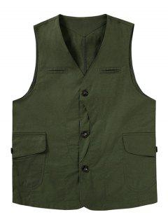 Button Up Mock Pockets Casual Fisher Vest - Army Green 2xl