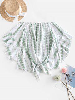 Off Shoulder Tie Dye Blouse - Green 2xl