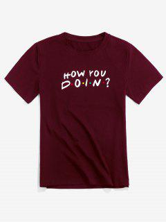 ZAFUL Letter Graphic Pattern Casual T-shirt - Red Wine L