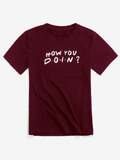 ZAFUL T-shirt Décontracté Motif Graphique Avec Lettre - Rouge Vineux Xl