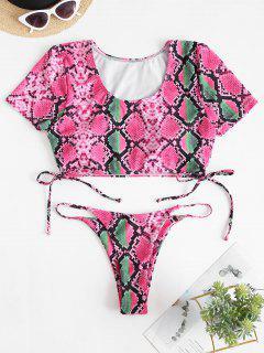 ZAFUL Tankini Badebekleidung Mit Schlangenledermuster - Neon Rosa Xl