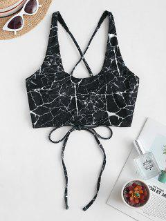 ZAFUL Marble Ribbed Criss Cross Bikini Top - Black Xl