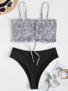 ZAFUL Ditsy Dots Lace Up High Cut Bikini Swimwear - Black L