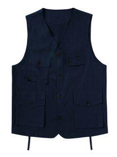 Plain Button Up Multi Pockets Fisher Vest - Cadetblue Xl