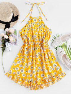 ZAFUL Floral Ruffle Halter Romper - Yellow S