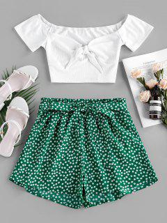 ZAFUL Ribbed Printed Two Piece Set - Green Xl