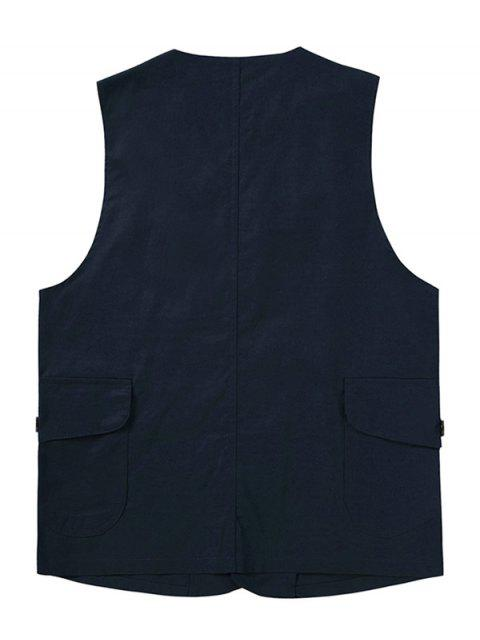 affordable Button Up Mock Pockets Casual Fisher Vest - CADETBLUE 2XL Mobile