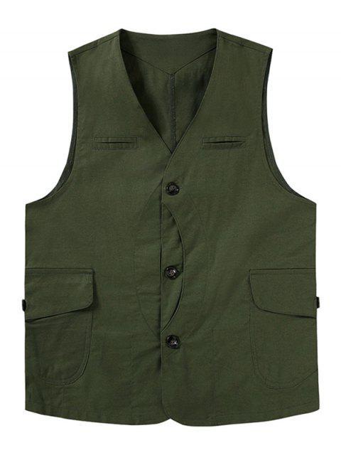 Gilet Brillant Décontracté Solide avec Poches Zippées Boutonnée - Vert Armée  2XL Mobile