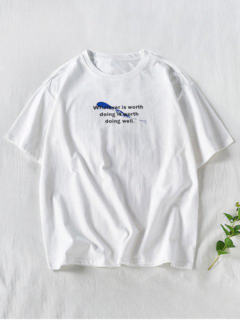 T-shirt de Manga Curta com Padrão de Splatter - Branco 2XL Mobile
