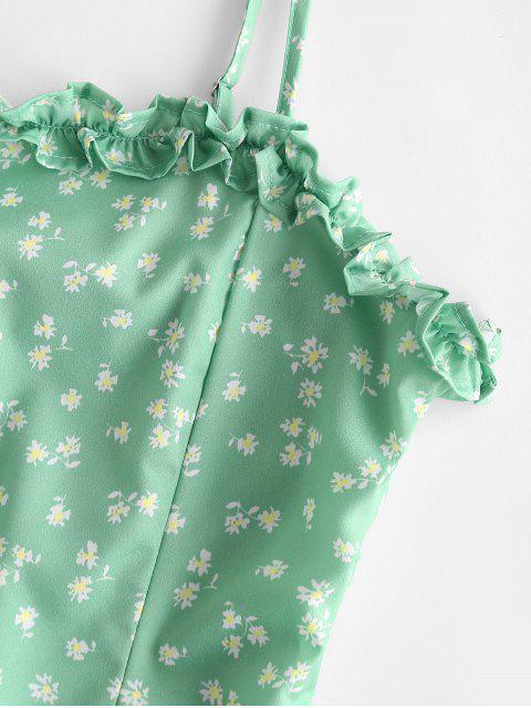 Robe Fleurie Taille Plissée à Bretelle - Vert L Mobile