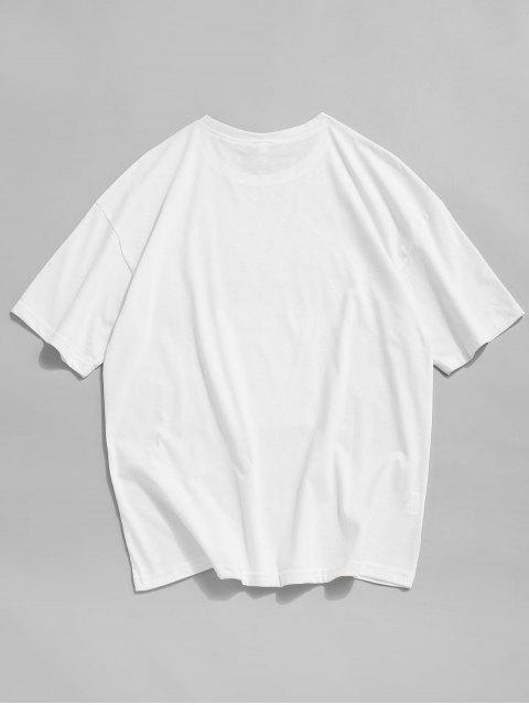 T-Shirt Stampata a Cane con Tasca di Cartone - Bianca XS Mobile