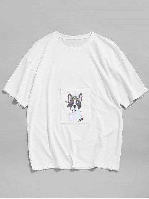 Cartoon Dog Print Pocket Patch T-shirt - أبيض XS Mobile