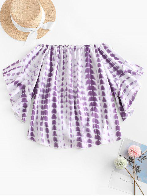 women Off Shoulder Tie Dye Blouse - PURPLE M Mobile