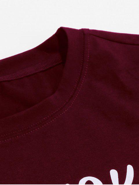 ZAFUL Padrão Gráfico Carta T-shirt Casual - Vinho Tinto 2XL Mobile