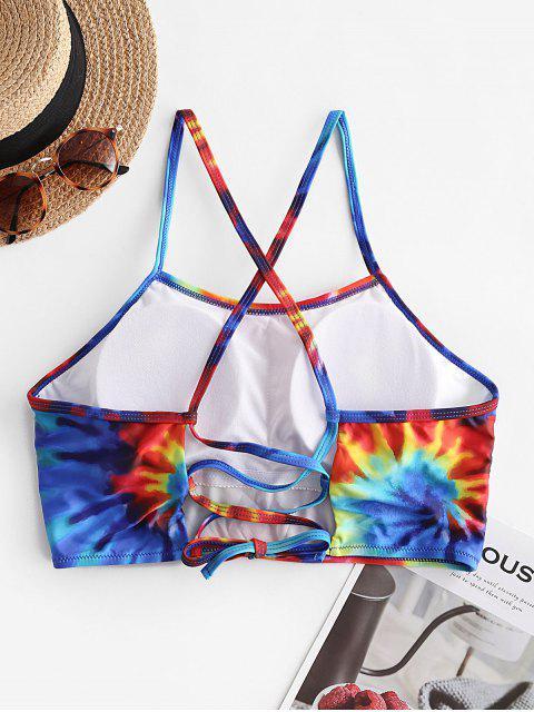 affordable ZAFUL Tie Dye Lace Up Bikini Top - MULTI-A 2XL Mobile