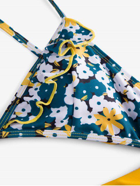 ZAFUL Kreuzer und Querer Bikini Badebekleidung mit Blumenmuster - Gelb S Mobile