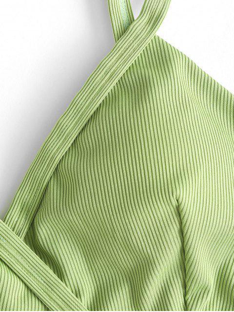 ZAFUL Maillot de Bain Tankini Superposé Fleur Côtelé - Vert clair M Mobile