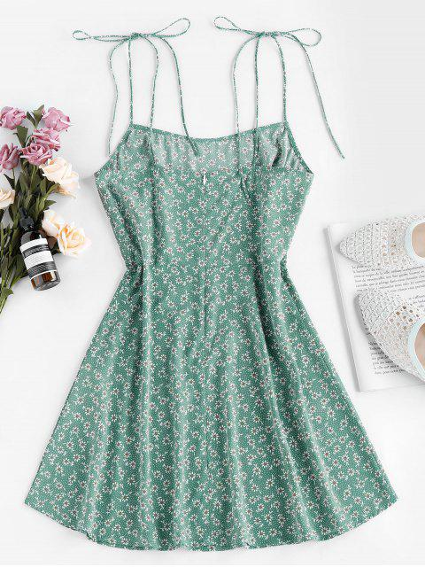 shops ZAFUL Tie Shoulder Ditsy Print Mini Dress - SHAMROCK GREEN M Mobile