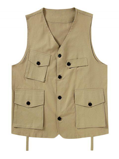 sale Plain Button Up Multi Pockets Fisher Vest - LIGHT KHAKI 2XL Mobile