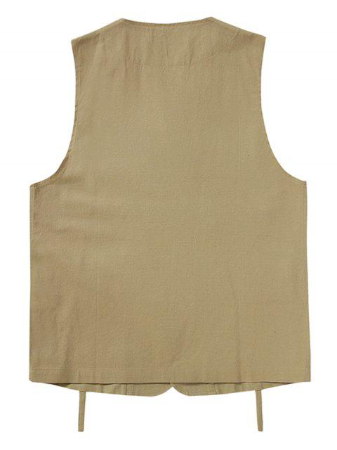 unique Plain Button Up Multi Pockets Fisher Vest - LIGHT KHAKI XL Mobile