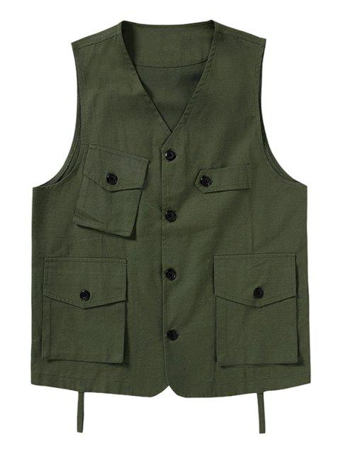 latest Plain Button Up Multi Pockets Fisher Vest - ARMY GREEN XL Mobile