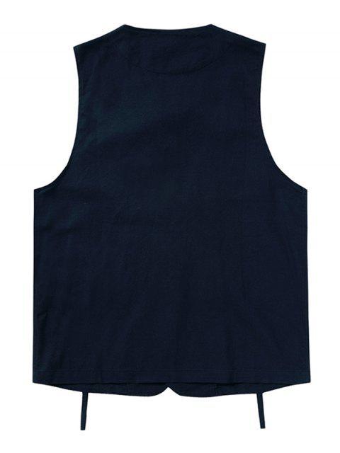 hot Plain Button Up Multi Pockets Fisher Vest - CADETBLUE XL Mobile