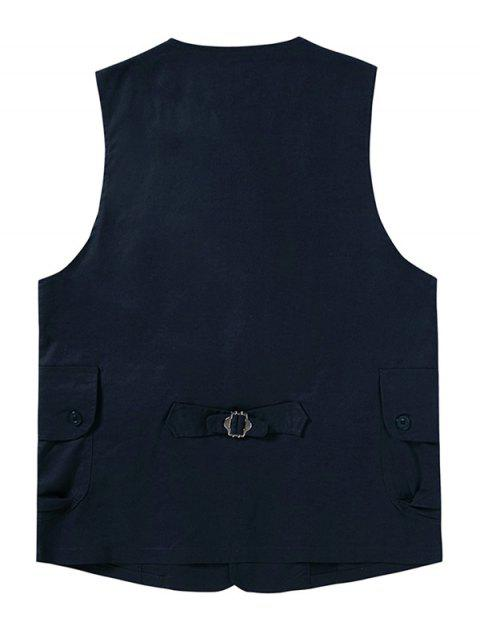 womens Plain Button Up Flap Pockets Outdoor Vest - CADETBLUE 2XL Mobile