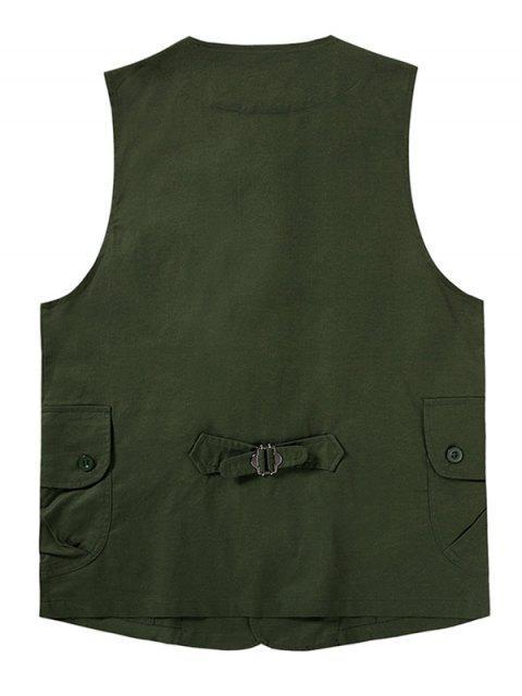 Gilet Semplice con Bottoni e Tasche con Patta in Tinta Unita - Verde Dell'esercito S Mobile