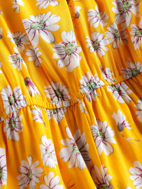 ZAFUL Blumen Rüschen Neckholder Strampler - Gelb S Mobile