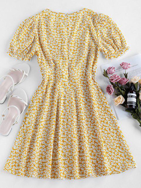 ZAFUL Tiefes Winzige Blumen Puff Ärmel Kleid - Helles Gelb S Mobile