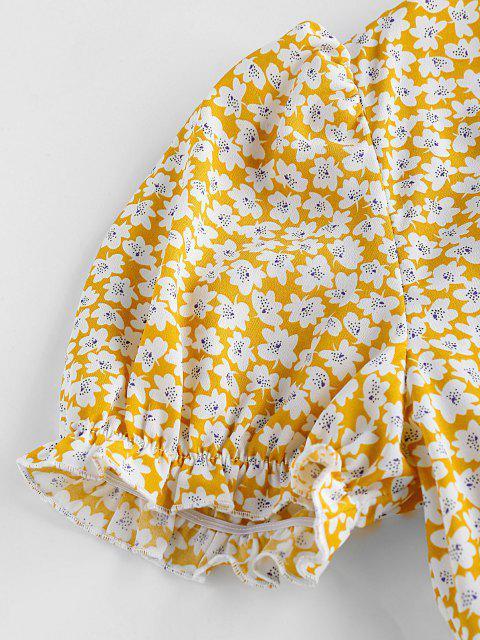 ZAFUL Tiefes Winzige Blumen Puff Ärmel Kleid - Helles Gelb M Mobile