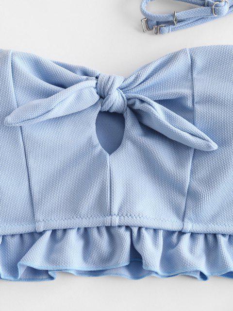 ZAFUL Verknoteter Tankini Badebekleidung mit Rüschen - Jeans Blau 2XL Mobile