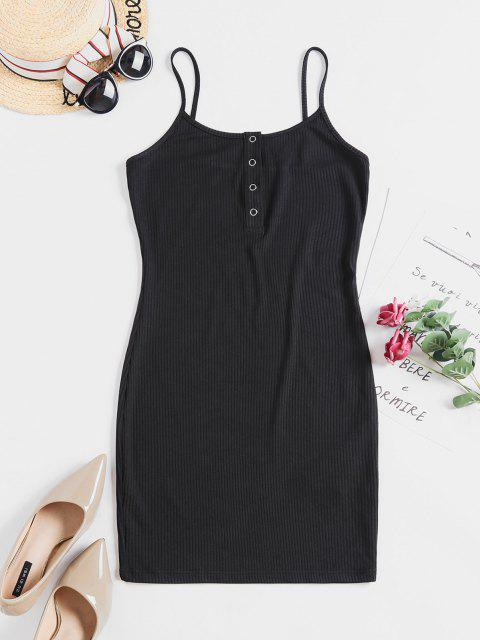 online ZAFUL Solid Color Bodycon Cami Dress - BLACK L Mobile