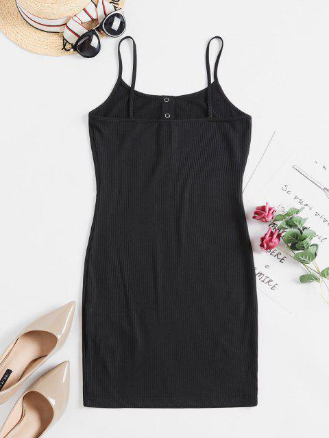 ladies ZAFUL Solid Color Bodycon Cami Dress - BLACK M Mobile