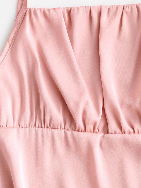 Seidiger Geraffte Krawatte Schulter Minikleid - Rosa XL Mobile