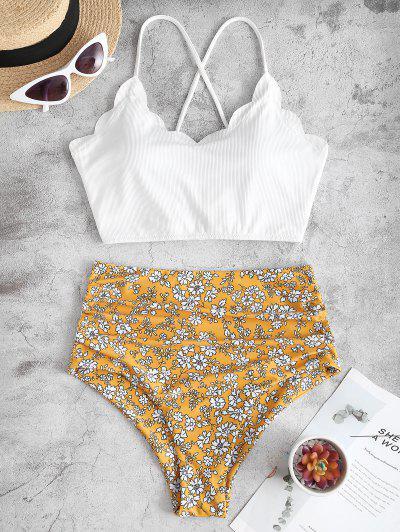 ZAFUL Blumen Gerippter Schnürung Blouson Tankini Badebekleidung - Weiß S