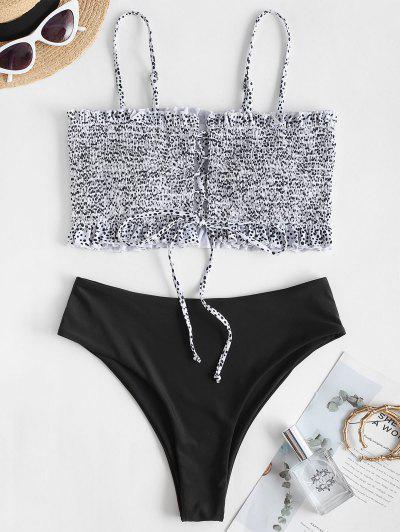 ZAFUL Ditsy Dots Lace Up High Cut Bikini Swimwear - Black M