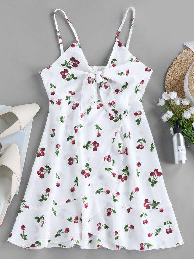 ZAFUL Cherry Print Knotted Flounce Cami Dress - Multi-a M