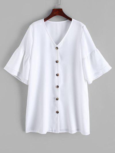 Robe Droite Boutonnée à Manches Evasées - Blanc L