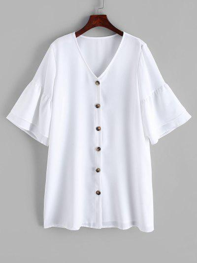 Button Up Flare Sleeve Shift Dress - White Xl