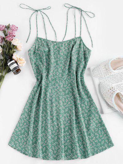 ZAFUL Tie Shoulder Ditsy Print Mini Dress - Shamrock Green M